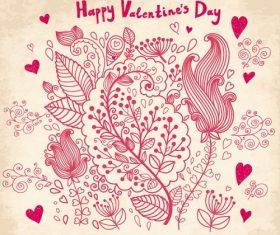Happy Valentines Flower Background Vector