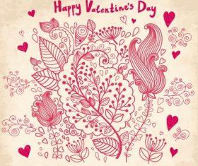 Happy Valentines Flower Background Vector