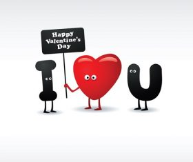 Happy Valentines with I Love You Cartoon Background Vector