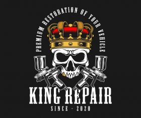 King Repair Skull Background Vector