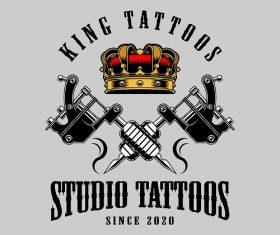 King Tattoos Studio Tattoos Background Vector