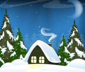 Lonely Winter Forest Hut Background Vector