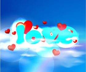Love On The Clouds Background Vector