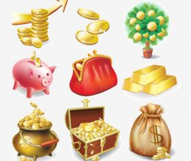 Money Bag Coins Piggy Bank Money Bag Gold Bar Gold Pot Icon Vector