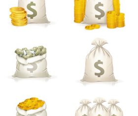 Money Bag Gold Dollar Sign Coins Icon Vector