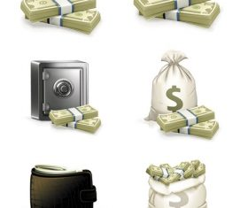 Money Bag Paper Money Safe Box Icon Vector