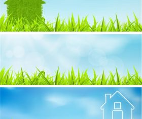 Nature House Grass Background Vector