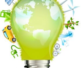 Nature Light Bulb Icon Background Vector