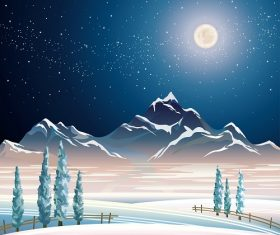 Night Winter Landscape with Mountains and Snowy Trees Background Vector