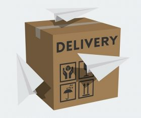Package box and paper planes Vector