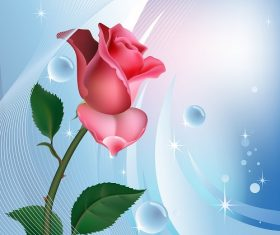 Pink Rose with Blue Sparkling Pattern Background Vector