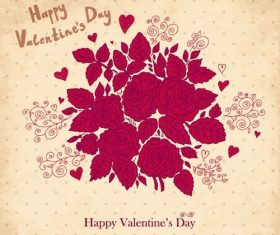 Red Roses and Leaves Valentines Background Vector