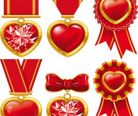 Red and Gold Medal Heart Icon Vector
