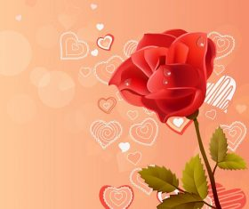 Rose Flower with Hearts Background and Patterns Vector
