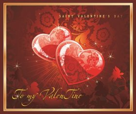 Saint Valentines Day with Two glossy Heart Pattern Background Vector