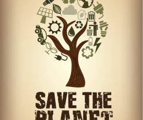 Save the Planet Tree Icon Background Vector