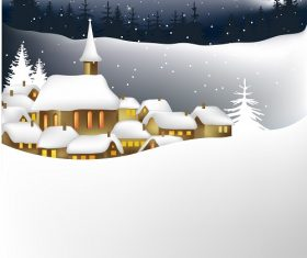 Snow Christmas Church Background Vector
