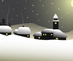 Snow Evening with Snow House Background Vector