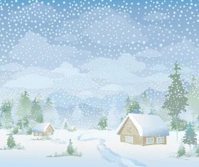 Snow Fall Landscape Background Vector