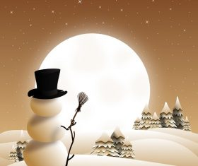 Snowman At Night Background Vector