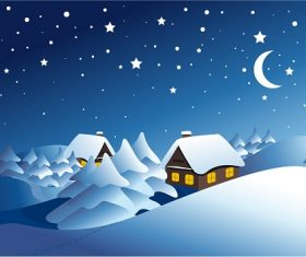 Snowy Landscape Background Vector