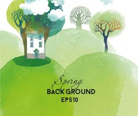 Spring Mountain Tree House Background Vector