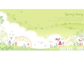 Spring Story Yellow Cartoon Background Vector