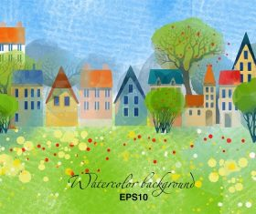 Spring-Summer Houses Cartoon Background Vector