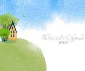 Spring Valley House Cartoon Background Vector