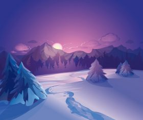 Sunset Winter Landscape Background Vector