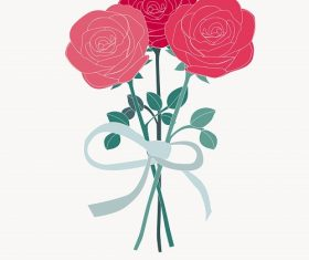 Three Roses Tie Together with Ribbon Background Vector