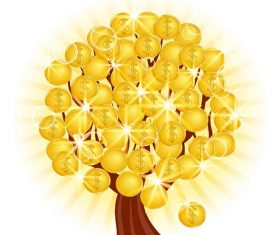 Tree Gold Coins Tree Icon Vector