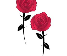 Two Full Bloom Red Roses Background Vector
