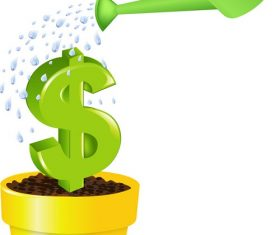 Watering Green Dollar Sign Icon Vector