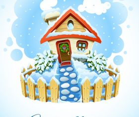 Winter Christmas Landscape with House in Snow Background Vector