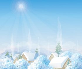 Winter Houses Day TIme Background Vector
