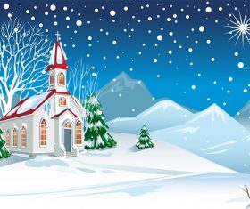 Winter Landscape with Church Background Vector