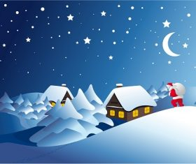 Winter Landscape with Santa Clause Background Vector