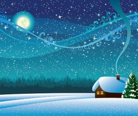 Winter Landscape with Snow House in Forest Light Moon Background Vector