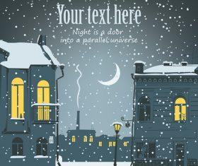 Winter Night Door Christmas Background Vector