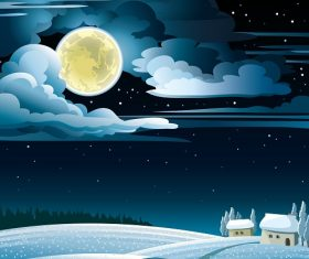 Winter Night Landscape with Snowy Huts and Full Moon on a Starry Sky  Background Vector