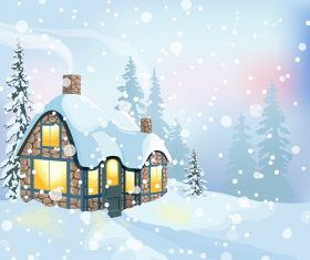 Winter holidays landscape Christmas Illustration with house and snowy forest Vector