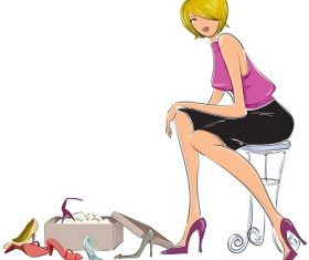 Woman Buying Selecting Shoes Background Vector
