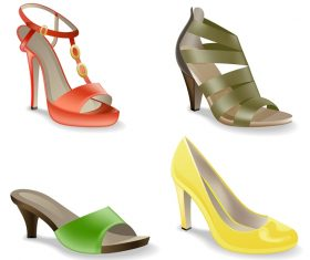Women's Shoes Isolated on White Background Vector
