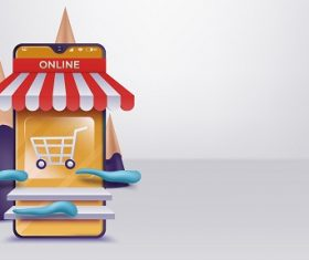 3D Online Shopping on Websites Vector