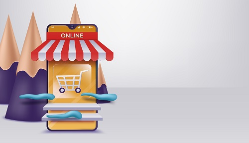 3D Online Shopping on Websites Vector