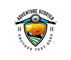 ADVENTURE SCOOTER BADGE LOGO TEMPLATE VECTOR