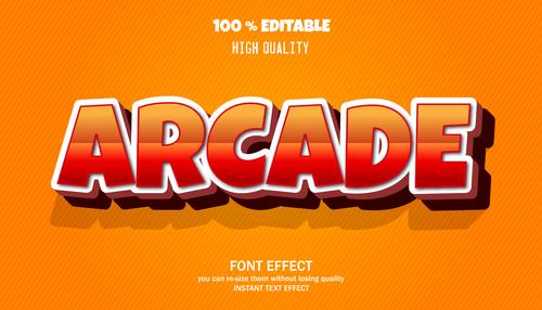 ARCADE editable font effect text vector