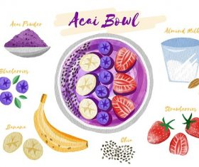 Acai Bowl Ingredients Vector