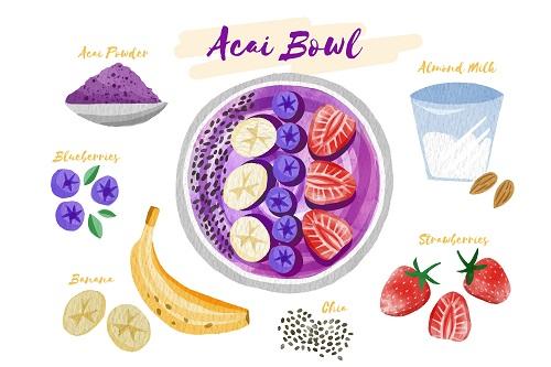Acai Bowl Ingredients Vector